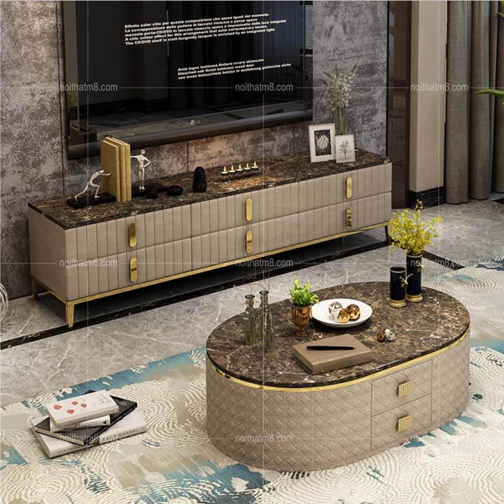 Kết quả hình ảnh cho Bàn sofa mặt đá tự nhiên phong cách châu Âu: